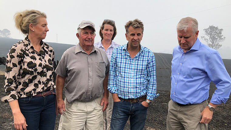 Out on a bushfire affected farm in Conargo with Leader of the Nationals in the Senate Bridget Mckenzie, Bega Deputy Mayor Russell Fitzpatrick, State member Andrew Constance, and Deputy Prime Minister Michael McCormack.
