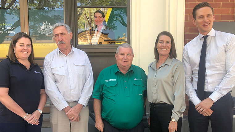 Coordinator General for Drought and North Queensland Floods, The Hon Shane Stone, Edward River Council Mayor Norm Brennan and General Manager Adam McSwain discussing the importance of support for local jobs during drought.